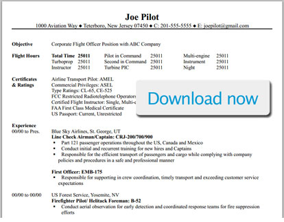 professional pilot resume template