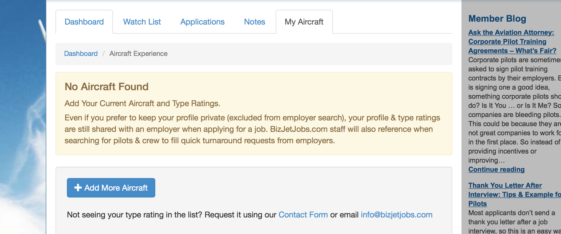 Add Your Pilot Type Ratings for More Visibility - BizJetJobs.com